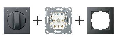 3 standen schakelaar Compleet - Antraciet - Merten M-Pure
