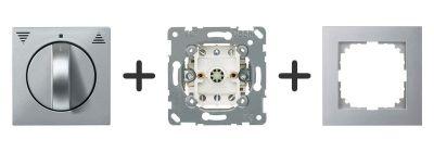 Jaloezie Draaischakelaar Compleet - Aluminium - Merten M-Pure