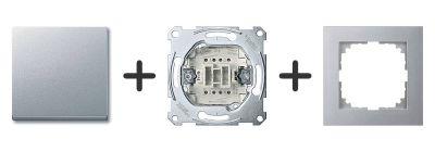 Kruisschakelaar Aluminium - Merten M-Pure