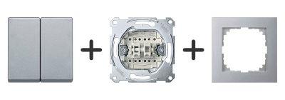 Wissel-wisselschakelaar Compleet - Aluminium - Merten M-Pure