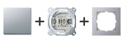 Wisselschakelaar Compleet - Aluminium - Merten M-Pure