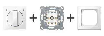 3 standen schakelaar Compleet - Polarwit - Merten M-Smart