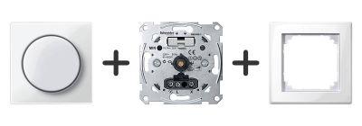 Draaidimmer Druk-Uit-Schakelaar Compleet - in Polarwit - M-Smart