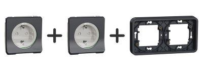 Stopcontact Inbouw (2x) Compleet - Antraciet - Mureva Styl