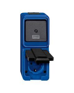 Stopcontact + Wisselschakelaar 2-voudig - Blauw - Slagvast