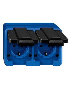 Stopcontact 2-voudig Horizontaal - Blauw - Slagvast