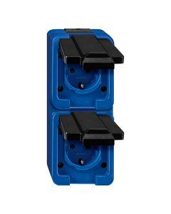Stopcontact 2-voudig Verticaal - Blauw - Slagvast