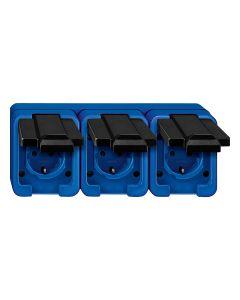 Stopcontact 3-voudig Horizontaal - Blauw - Slagvast