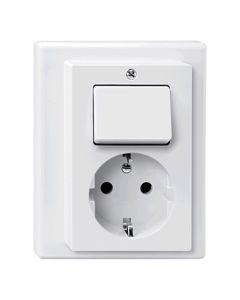 Stopcontact + Wisselschakelaar Compleet - Polarwit - M-Smart