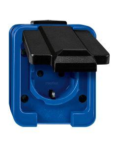Stopcontact 1-voudig - Blauw - Slagvast