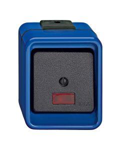 Tweepolige schakelaar 1-voudig - Controleverlichting - Blauw - Slagvast