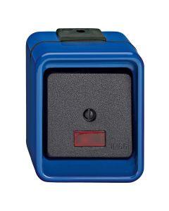 Wisselschakelaar 1-voudig - Controleverlichting - Blauw - Slagvast