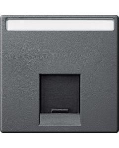 Inzetstuk RJ45 Actassi Tekstveld 1-voudig - Antraciet - Systeem M