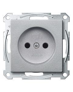 Wandcontactdoos - Kinderbeveiliging - Aluminium - Systeem M