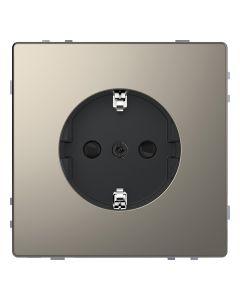 Wandcontactdoos Randaarde - Kinderbeveiliging - Kunststof - Nikkel Metallic - Systeem Design