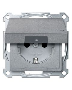 Wandcontactdoos Randaarde - Kinderbeveiliging - Klapdeksel - Aluminium - Systeem M