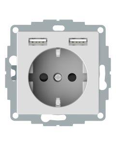Wandcontactdoos Randaarde - Dubbele USB - Actief Wit - Systeem M