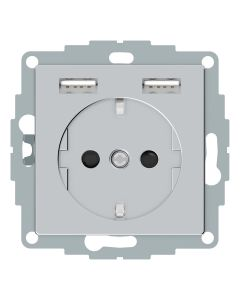 Wandcontactdoos Randaarde - Dubbele USB - Aluminium - Systeem M