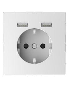 Wandcontactdoos Randaarde - Dubbele USB - Kunststof - Lotuswit - Systeem Design