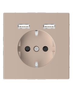 Wandcontactdoos Randaarde - Dubbele USB - Kunststof - Champagne Metallic - Systeem Design