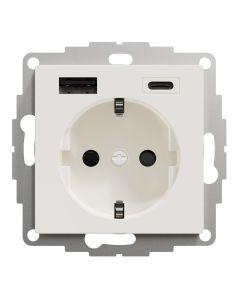 Wandcontactdoos Randaarde - Dubbele USB - Polarwit - Systeem M
