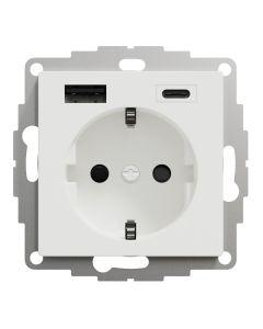 Stopcontact - Inbouw - Randaarde - USB Type A+C - Actief Wit - Systeem M