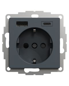 Wandcontactdoos Randaarde - Dubbele USB - Antraciet - Systeem M