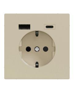 Wandcontactdoos Randaarde - Dubbele USB - Kunststof - Sahara - Systeem Design