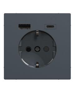 Wandcontactdoos Randaarde - Dubbele USB - Kunststof - Antraciet - Systeem Design