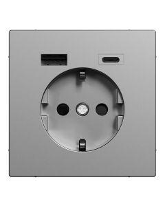 Wandcontactdoos Randaarde - Dubbele USB - Kunststof - RVS Look - Systeem Design
