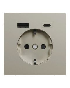 Wandcontactdoos Randaarde - Dubbele USB - Kunststof - Nikkel Metallic - Systeem Design