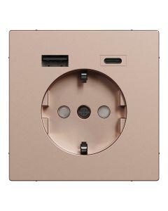 Stopcontact - Inbouw - Randaarde - USB Type A+C - Champagne Metallic - Systeem Design