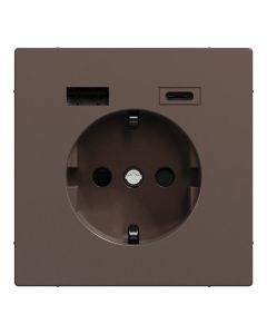 Wandcontactdoos Randaarde - Dubbele USB - Kunststof - Mocca Metallic - Systeem Design