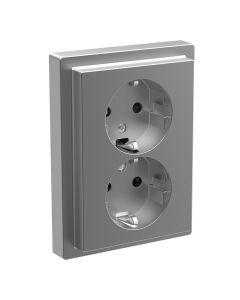 Stopcontact Compleet 2-voudig Verticaal - Kinderbeveiliging - Kunststof RVS Look - D-Life