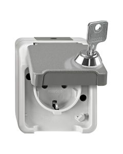 Stopcontact 1-voudig - Inclusief slot - Grijs - Aquastar