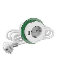 Deskunit Verzonken - Bureau Stopcontact - Stekkerdoos + USB Type A - Wit - Unica