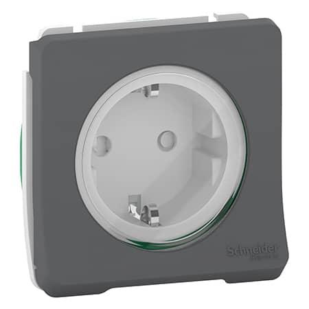 Mureva Styl modulair stopcontact antraciet voor inbouw en opbouw