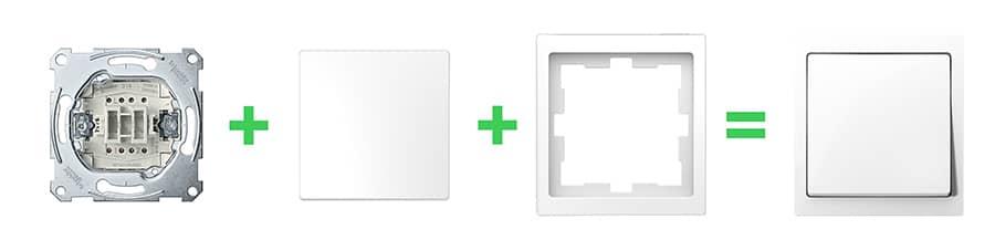 Systeem Design schakelmateriaal set samenstellen met sokkel inzetstuk en afdekraam