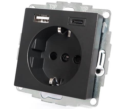 USB-Stopcontact Merten Systeem M antraciet
