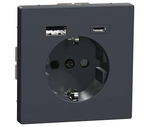 USB Type A+C stopcontact Merten Systeem Design zwart