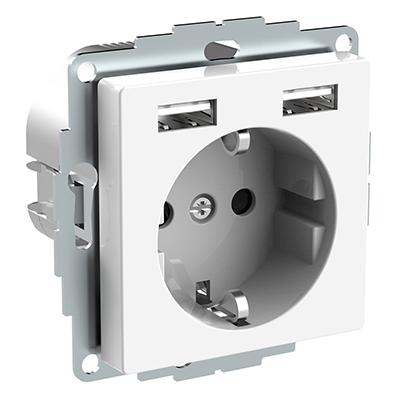 USB WCD Systeem M Polarwit Wandcontactdoos Stopcontact